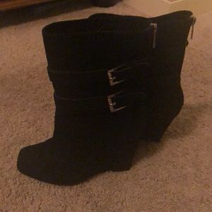 Michael Kors black suede wedge boots